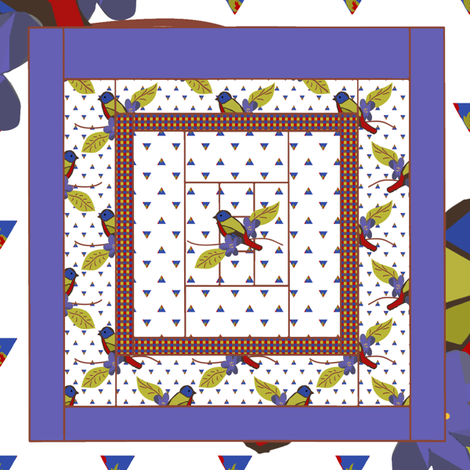 Painted Bunting Quilt Block 3 fabric by anniedeb on Spoonflower - custom fabric