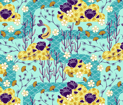 Japanese river garden with flowers and koi fish fabric by heleen_vd_thillart on Spoonflower - custom fabric