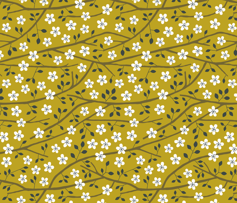 Jungle Tree blossom mustard fabric by heleen_vd_thillart on Spoonflower - custom fabric