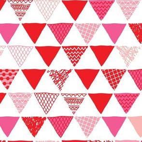 Geometric tribal aztec triangle red pink modern patterns