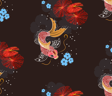 Japanese koi fish in a pond with blue flowers and red for Koi fish print fabric