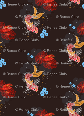 Japanese Koi Fish in a Pond with Blue Flowers and Red Lilly Pads