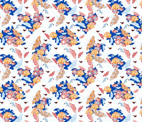 butterfly garden blue fabric by pamelachi on Spoonflower - custom fabric