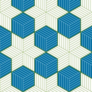 Blue cubes and green stars