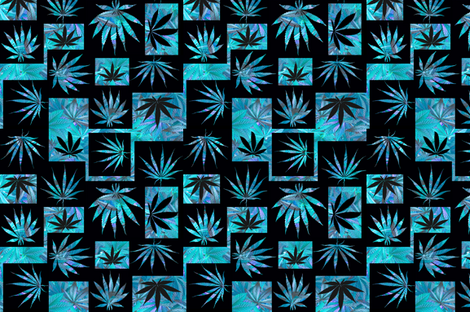 Marijuana Leaf Turquoise Squares fabric by camomoto on Spoonflower - custom fabric
