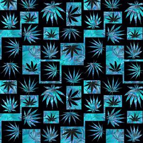 Marijuana Leaf Turquoise Squares