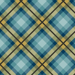 Modern plaid in blue, yellow, and brown