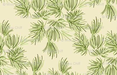 16-19F Cream Pine Tree    Needle Pinecone Green Winter Mountain Traditional Evergreen Fir_Miss Chiff Designs