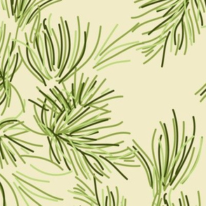 Cream Pine Tree || Needle Pinecone Green Winter Mountain Traditional Evergreen Fir_Miss Chiff Designs