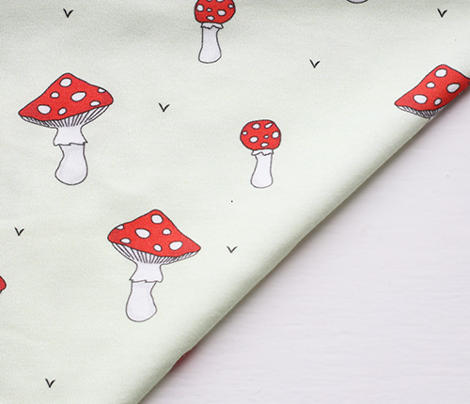 Mushrooms // red green swedish scandinavian forrest fungi food print design