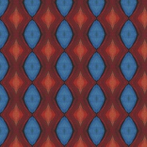 Firebird Red and Blue Diamond Fabric Design
