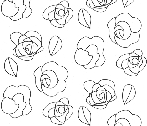 Flower drawing (black on white) fabric by kendrashedenhelm on Spoonflower - custom fabric