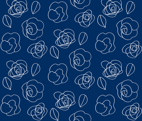 Flower drawing (white on navy) fabric by kendrashedenhelm on Spoonflower - custom fabric
