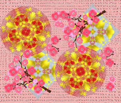 Luxurious Pink & Golden Japanese Garden Floral Mixed Pattern