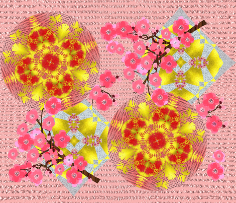 Luxurious Pink & Golden Japanese Garden Floral Mixed Pattern fabric by flisty on Spoonflower - custom fabric