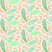 Bananas and leaves pattern