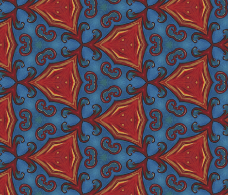 Firebird Blue and Red Ballet fabric by spatialh on Spoonflower - custom fabric