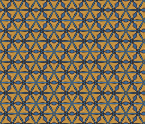 Firebird Blue and Gold Triangles fabric by spatialh on Spoonflower - custom fabric