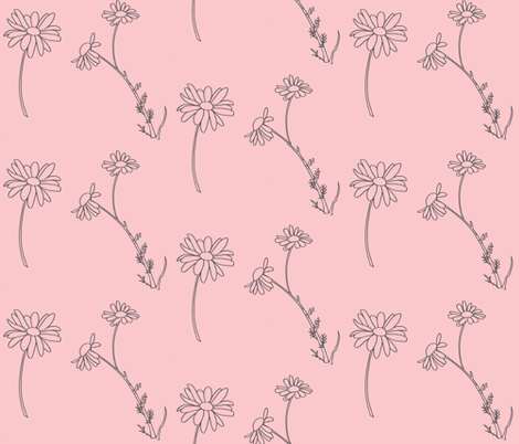 Daisies, drawing (dark gray on warm pink) fabric by kendrashedenhelm on Spoonflower - custom fabric