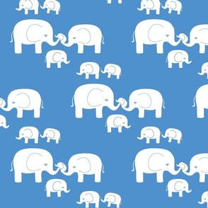 Elephants (white on blue)