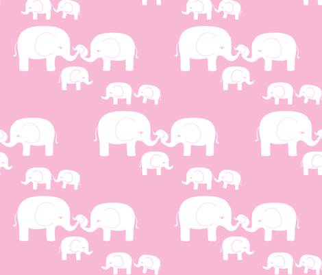 Elephants (white on pink) fabric by kendrashedenhelm on Spoonflower - custom fabric