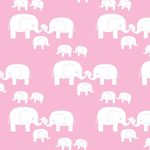 Elephants (white on pink)