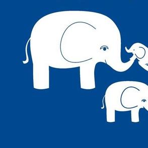 Elephants (white on dark blue)
