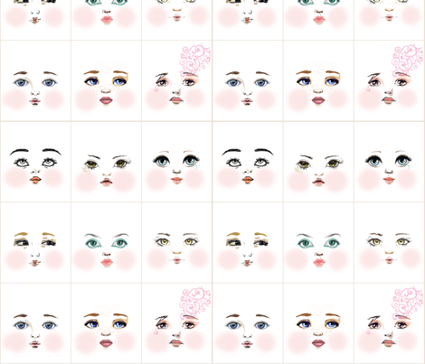 face_fabric_art_quirk_w fabric by dollproject on Spoonflower - custom fabric