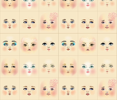 face_fabric_art_quirk fabric by dollproject on Spoonflower - custom fabric