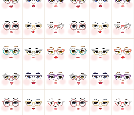 glasses_girls_w fabric by dollproject on Spoonflower - custom fabric