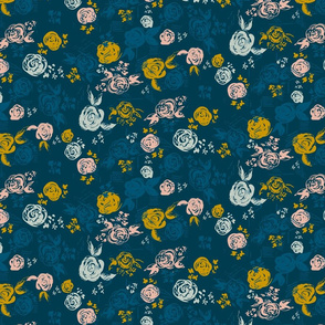 Brushstroke Floral in Navy