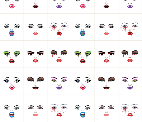 vampire_faces_w fabric by dollproject on Spoonflower - custom fabric