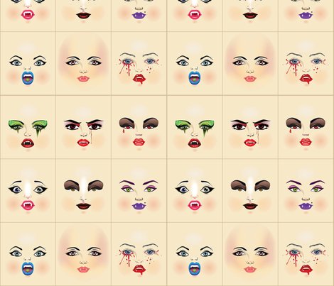 vampire_faces fabric by dollproject on Spoonflower - custom fabric