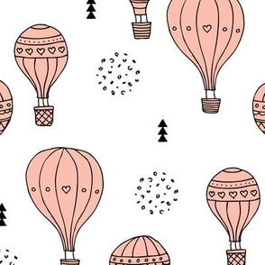 Sweet dreams hot air balloon sky scandinavian geometric style design pastel pink for girls XL