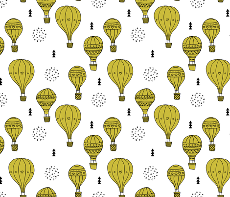 Sweet dreams hot air balloon sky scandinavian geometric style design gender neutral mustard yellow XL fabric by littlesmilemakers on Spoonflower - custom fabric