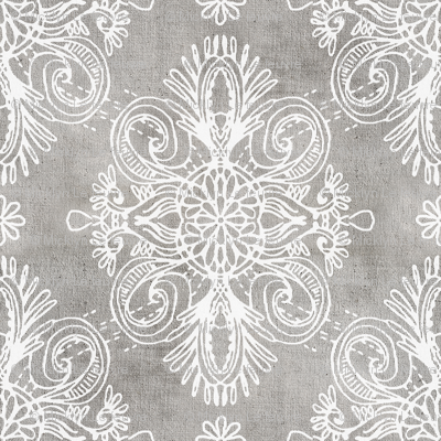White on Grey Boho Daisy Centered Doodles
