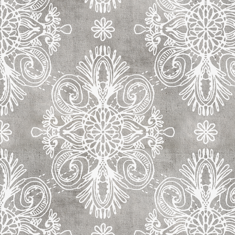 White on Grey Boho Daisy Centered Doodles fabric by micklyn on Spoonflower - custom fabric