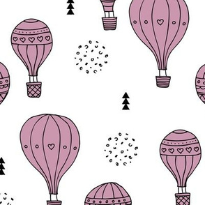 Sweet dreams hot air balloon sky scandinavian geometric style design violet lilac girls XL