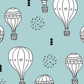 Sweet dreams hot air balloon sky scandinavian geometric style design gender soft blue XL
