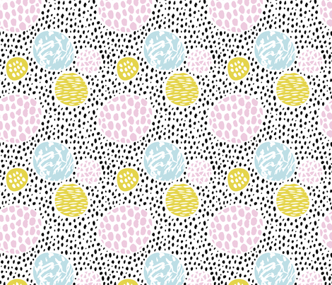 Circles dots and spots raw abstract brush strokes memphis scandinavian style multi color XS fabric by littlesmilemakers on Spoonflower - custom fabric