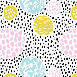 Circles dots and spots raw abstract brush strokes memphis scandinavian style multi color XS