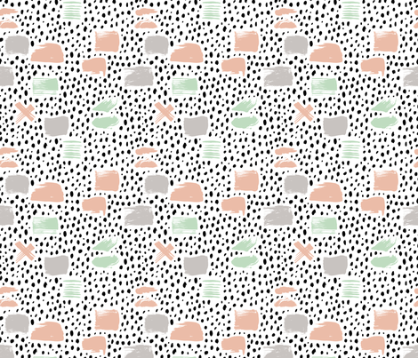 Strokes dots cross and spots raw abstract brush strokes memphis scandinavian style mint coral XS fabric by littlesmilemakers on Spoonflower - custom fabric