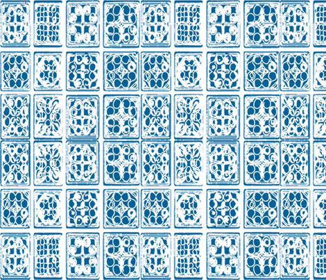 HMONG tile batik fabric wallpaper blue white fabric by jenlats on Spoonflower - custom fabric