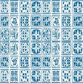 HMONG tile batik fabric wallpaper blue white