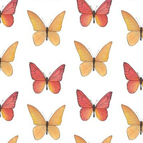 Red and Orange Watercolor Butterflies