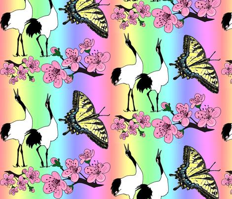 Japanese_rainbow_garden_004 fabric by leroyj on Spoonflower - custom fabric