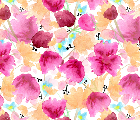 Pretty Pink & Peach Watercolor Florals fabric by tavadesigns on Spoonflower - custom fabric