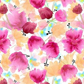 Pretty Pink & Peach Watercolor Florals