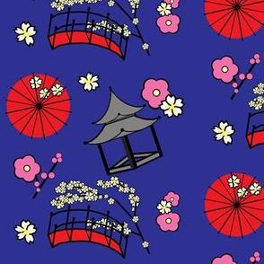 Japanese Flower Garden Indigo