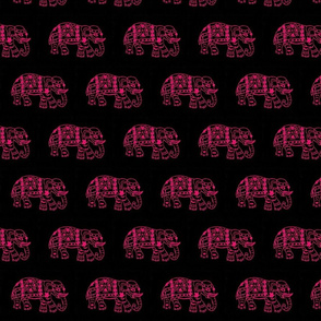 Fuchsia elephants on black